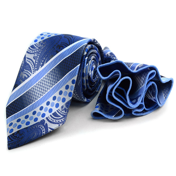 Geometric Paisley Pattern Tie & Matching Pocket Round Set MPWTH170629