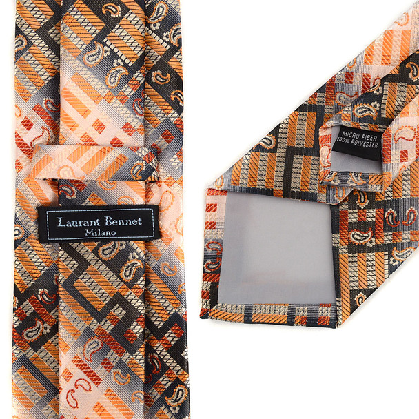 Geometric Paisley Pattern Tie & Matching Pocket Round Set MPWTH170630