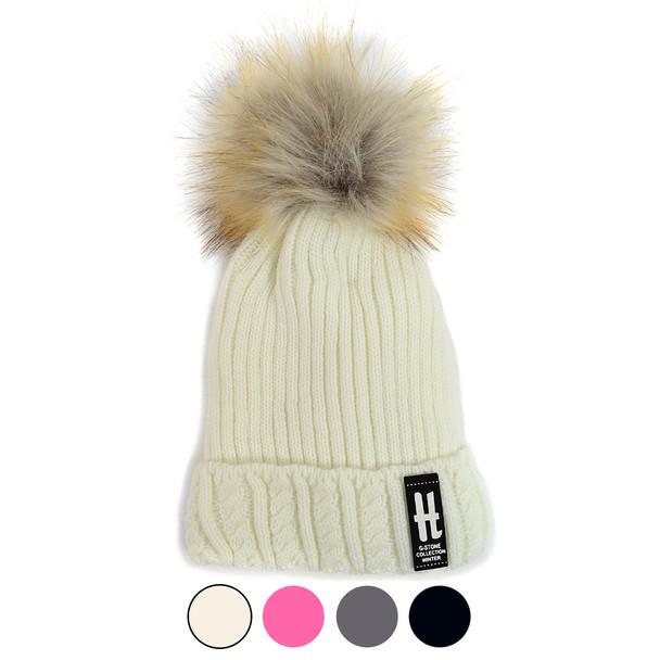 Kid's Ribbed & Cable Knit Pom Pom Ski Hats KPH1701