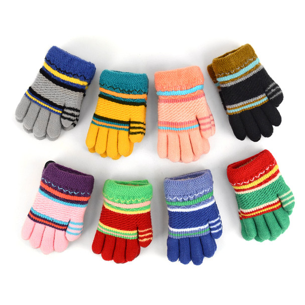 6pc Children's Knit Winter Gloves with Fuzzy Fleece Lining - 250KFG