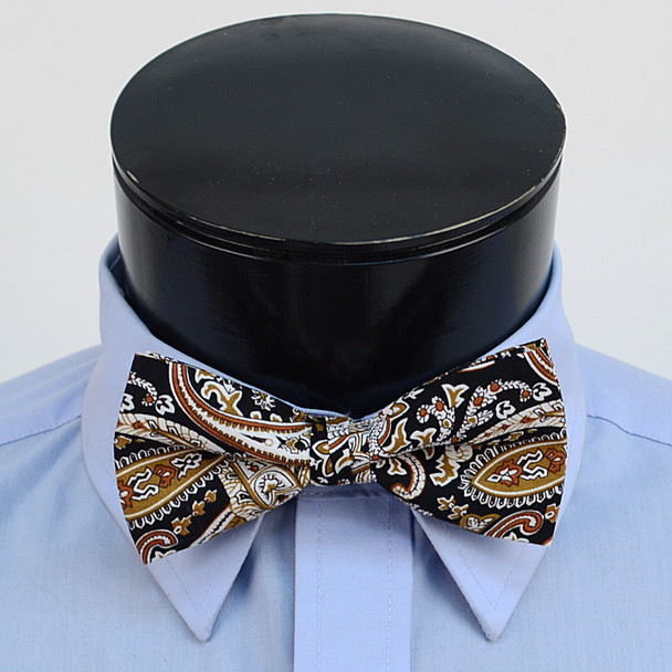 3pc Paisley Wedding Cotton Banded Bow Tie - NFCB17136
