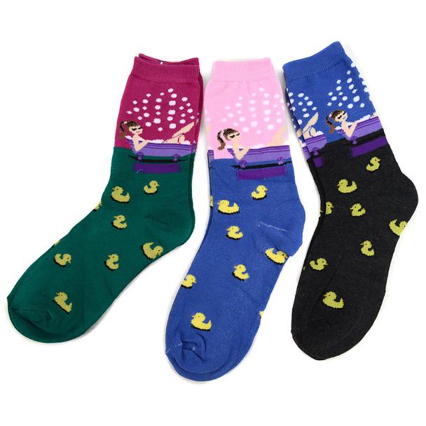4-Packs (3 pairs/pack) Women's Rubber Ducky Novelty Socks 3PKSWCS-697