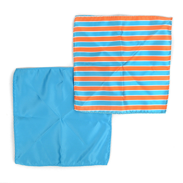 3pc Striped & Solid Tie with Matching Hanky and Cufflinks THCX12-TURQ2