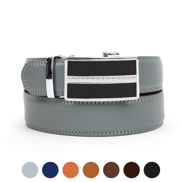 Men's Genuine Leather Sliding Buckle Ratchet Belt MGLBB43