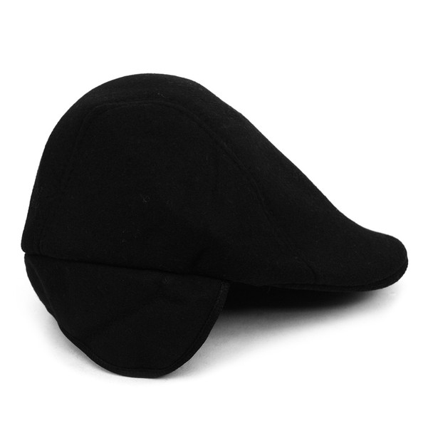 Fall/Winter Solid Black Ivy Hat with Ear Flaps  - H177309