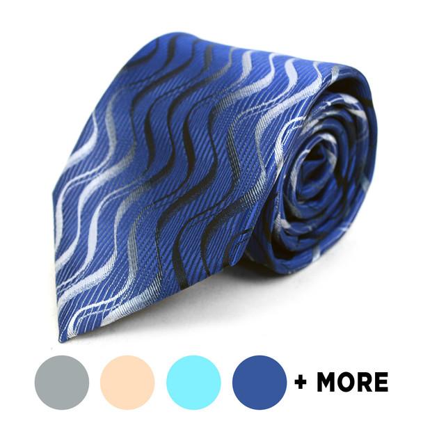 Waves Pattern Geometric Microfiber Poly Woven Tie - MPW5930