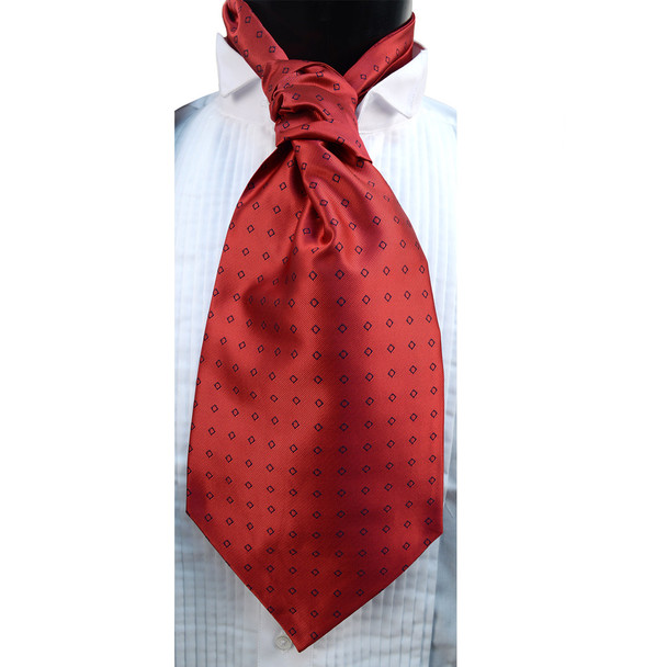 Rhombus Pattern Microfiber Poly Woven Ascot With Hooks - PPA1713