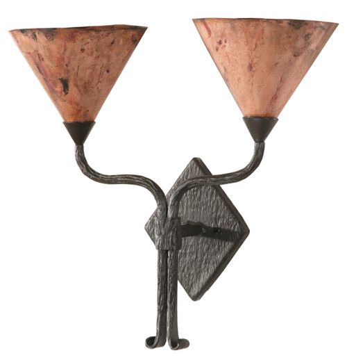 Huntington Iron Double Wall Sconce with Copper Shade
