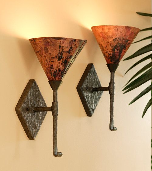 Huntington Iron Single Wall Sconce with Copper Shade