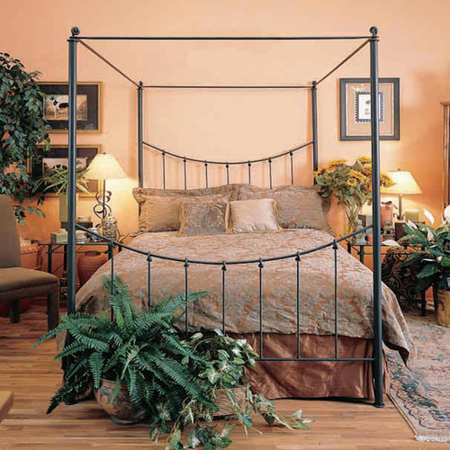 Rose Bud Canopy Queen Iron Bed
