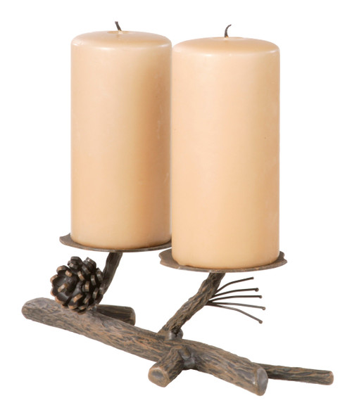Evergreen Iron Candle Holder Double
