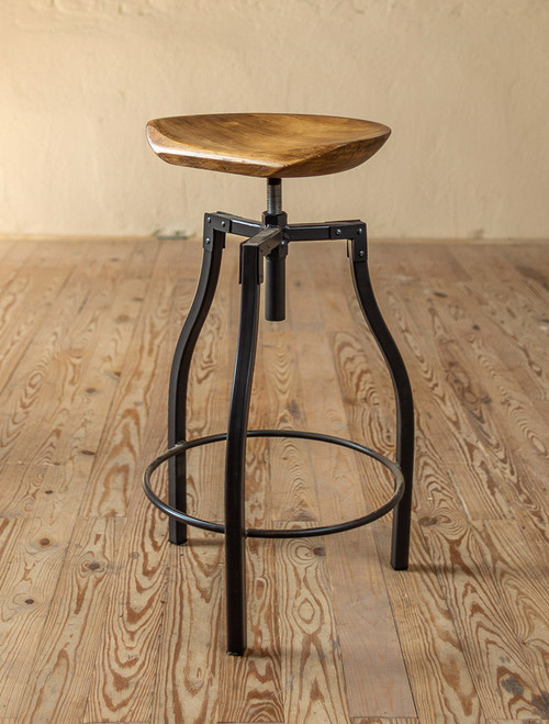 Quarry Hand-Forged Iron Stool with Sculpted Wood Seat