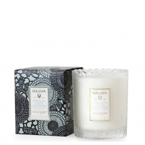 Voluspa Japonica Collection French Cade & Lavender Scalloped Edge Glass Candle