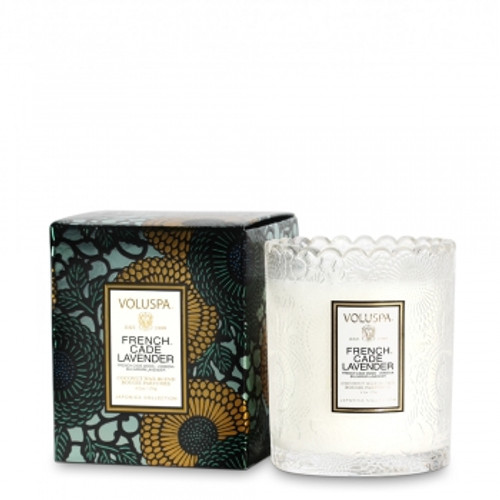 Voluspa Japonica Collection French Cade & Lavender Limited Edition Scalloped Edge Glass Candle