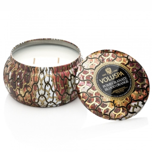 Voluspa Maison Noir Collection Pomegranate Blood Orange Two Wick Tin Candle