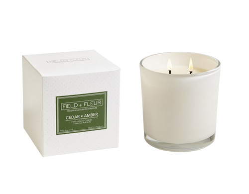 Hillhouse Naturals Cedar Amber White Glass 2-Wick Candle