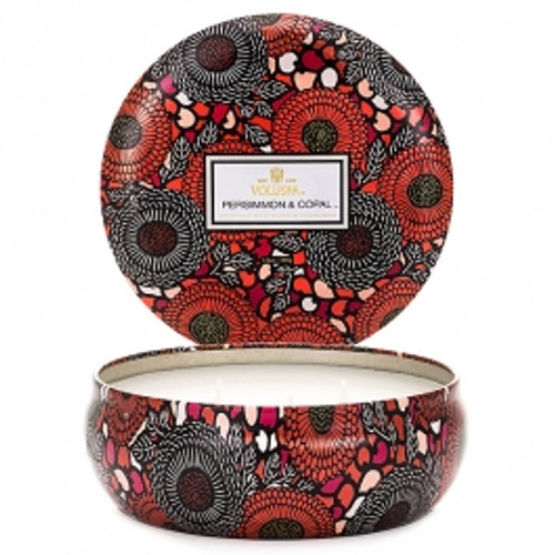 Voluspa Japonica Collection Persimmon & Copal Three Wick Tin Candle