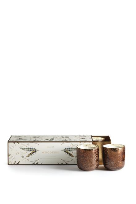 Illume Woodfire Mini Luxe Sanded Mercury Glass 3 Votive Candle Set