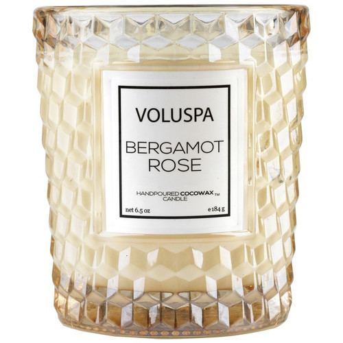 Voluspa Roses Collection Bergamot Rose Classic Textured Glass Candle