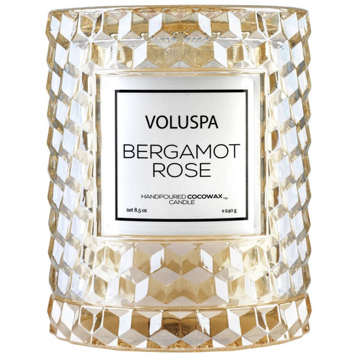 Voluspa Roses Collection Bergamot Rose Icon Cloche Cover Glass Candle