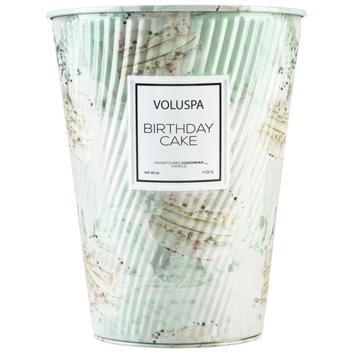 Voluspa Macaron Collection Birthday Cake 2-Wick Tin Table Candle