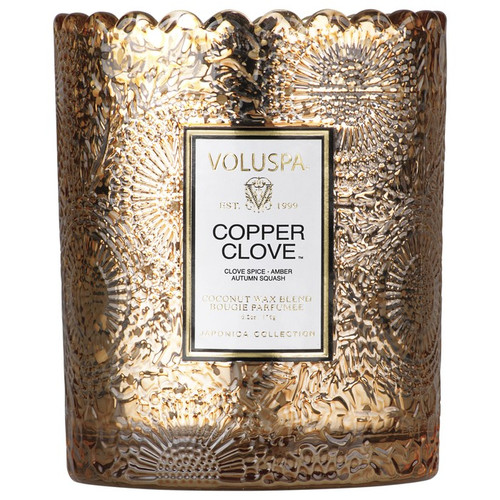 Voluspa Japonica Collection Copper Clove Limited Edition Scalloped Edge Glass Candle