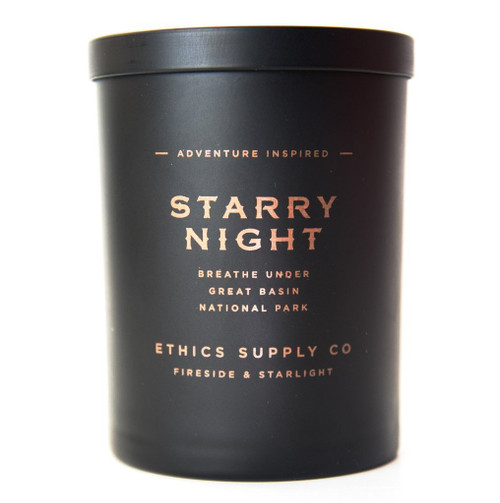 This gorgeous subtly scented candle is inspired from Great Basin National Park which boasts one of America's last darkest skies. This lush scent is reminiscent of cold night air pierced with hushed sacred notes of ancient bristlecone pine resting softly under a Milky Way bannered star filled night as the scented shadow of Great Basin's majestic Wheeler Peak's cold quartzite gives way to the warmth of rich musk & amber while a duet of patchouli & sandalwood enhance the evening's precious blackness.  Weight: 11 oz | Burn Time: 55+ hours Hand poured in California. Made using all-natural, organic coconut wax & 5% white beeswax Infused with essential oils & a proprietary blend of premium grade aromatic oils Phthalate Free Cruelty Free Candle Jar Made in the U.S.A. & can be recycled or repurposed