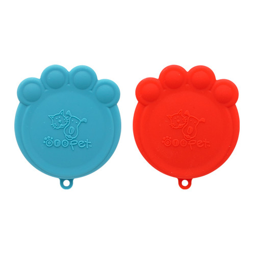 Paw Can Silicone Cover Set - Red and Blue, Set of 2