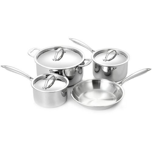 Super-Elite Cookware Set - Tri-Ply Stainless Steel, 7 Piece