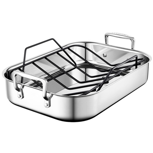 roasting pan with rack stainless steel small the gourmet warehouse. Black Bedroom Furniture Sets. Home Design Ideas