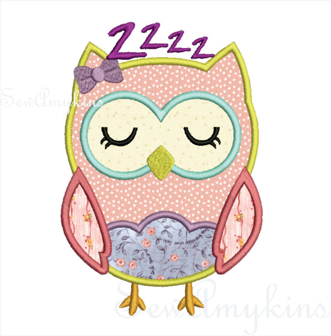 Girl sleepy Owl applique v3 - SewAmykins