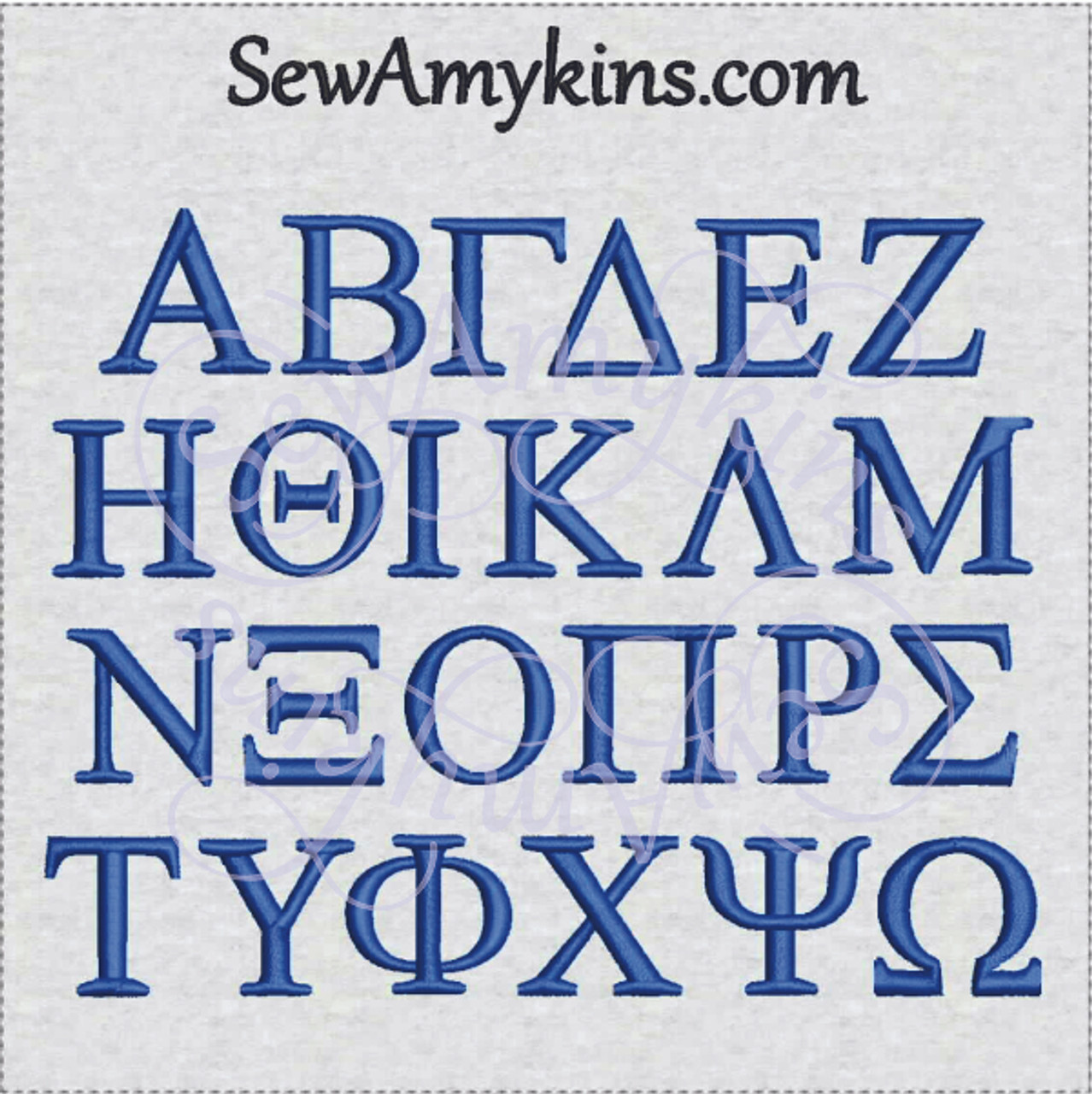 Greek alphabet letters for college fraternity or sorority 2 sizes