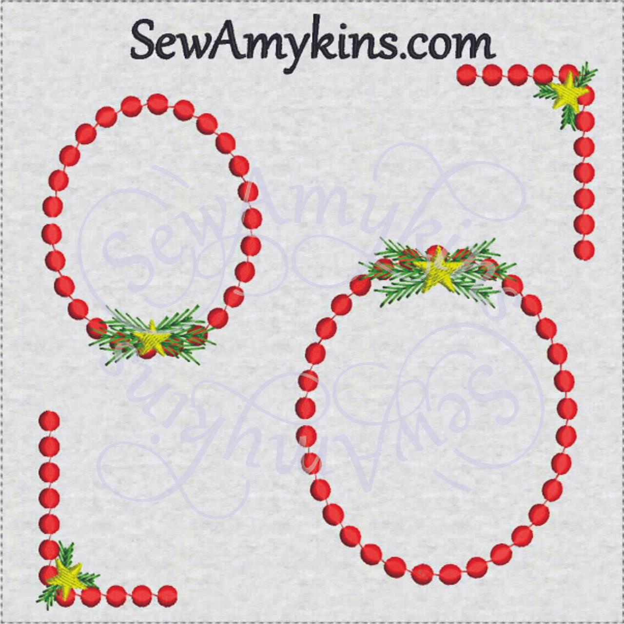 Dot Funky Frame Oval Corner Embroidery Design Set Christmas Winter