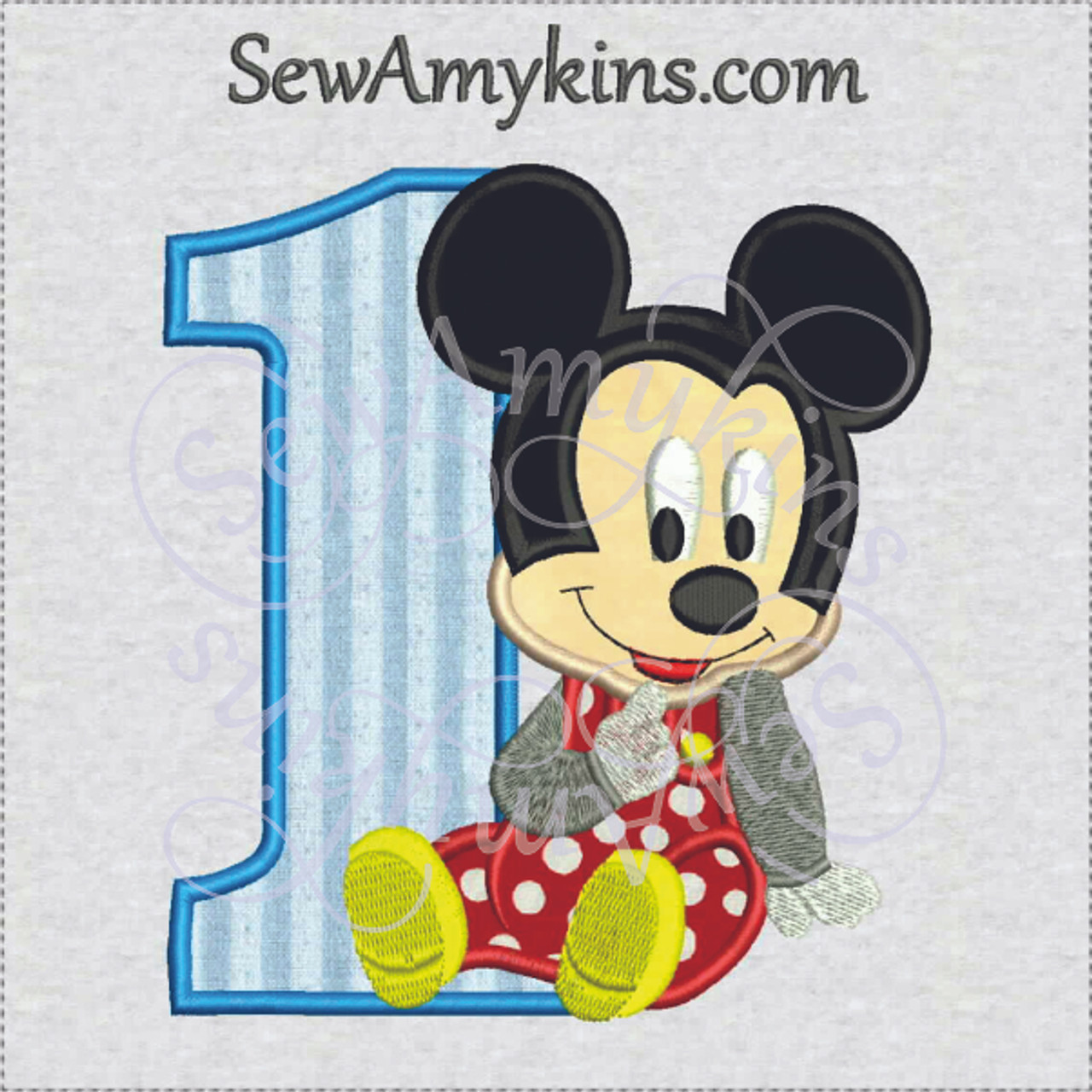 baby mickey mouse 1st birthday boy first one applique machine embroidery design 2 sizes