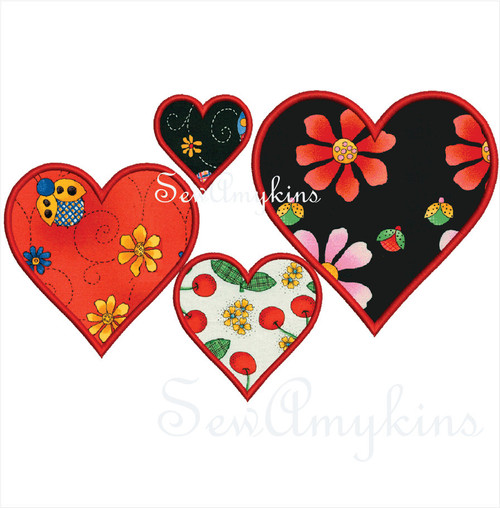 Hearts Applique Embroidery Designs Digitized Set Of 5 Heart Shape 1