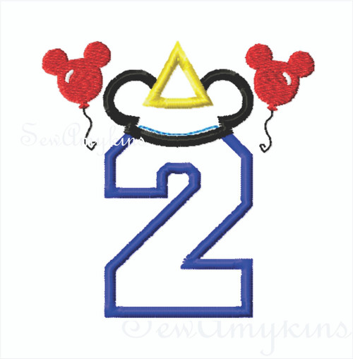 Mickey Mouse Applique Number 2 Party Hat Amp Balloons