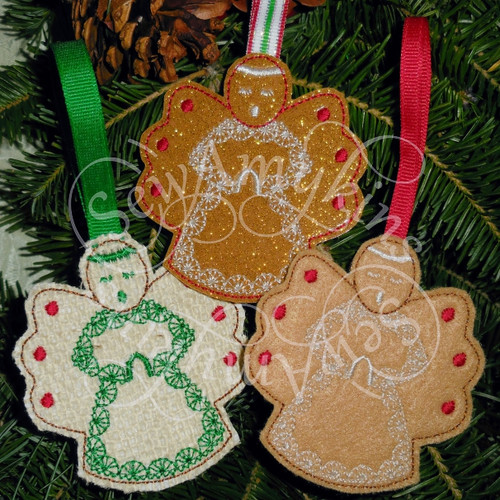 Gingerbread Angel Cookie Ornament Christmas Felt Machine