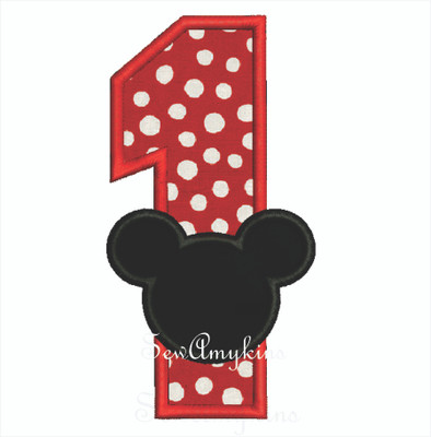 Mickey Mouse Applique Number 1 Sewamykins