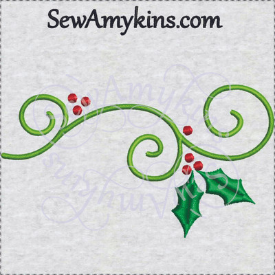 Christmas Holly Vine Swirl Embroidery Design 2 Sizes