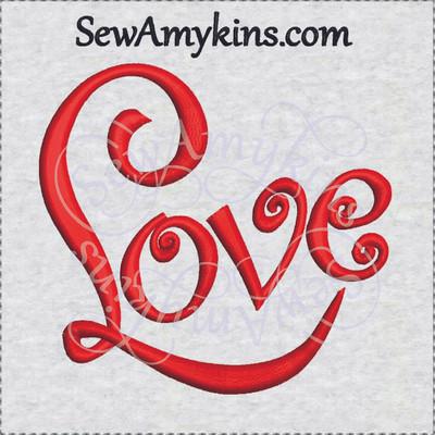 Love Word Embroidery Design Cursive Fancy Script 3 Sizes