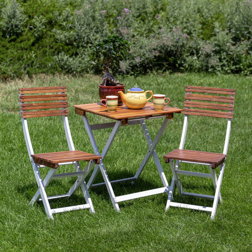 South Park 3-Piece Acacia Outdoor Patio Cafe Bistro Set with Square Folding Table and 2 Chairs, Natural Oil and White Finish