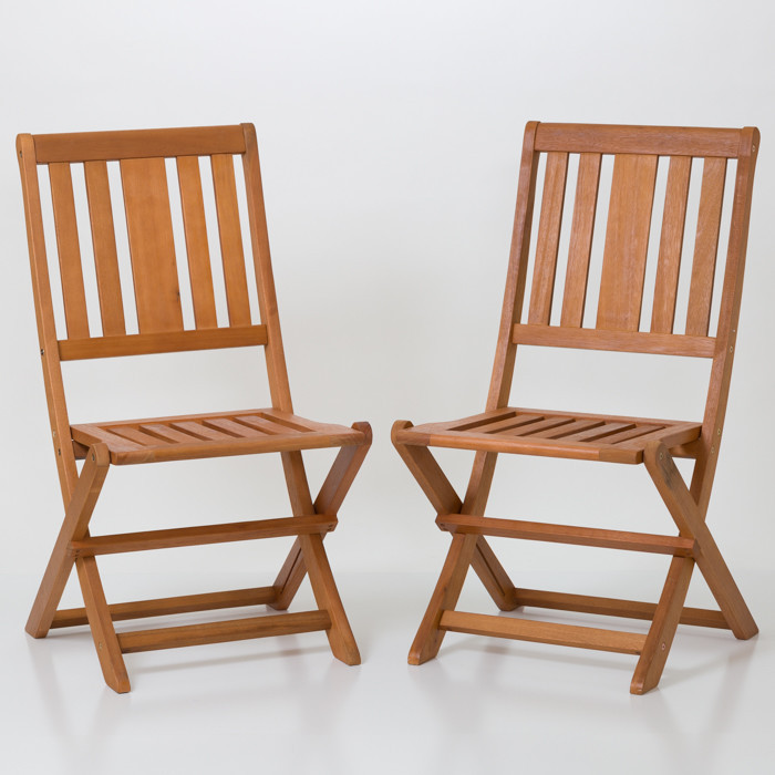 Eucalyptus Armless Folding Chairs Set of 2