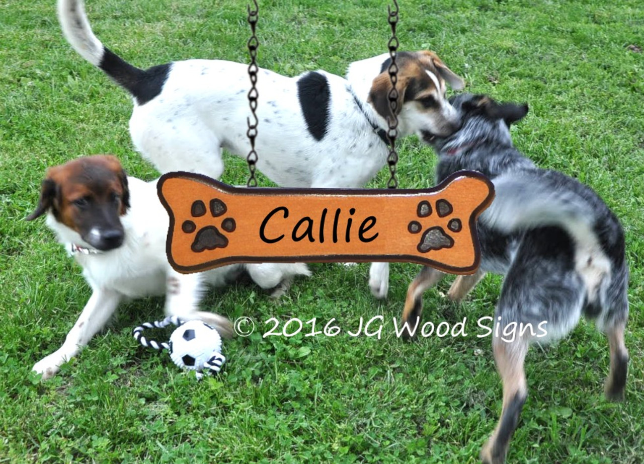 custom camp sign pet name dog bone addon wooden name sign dog