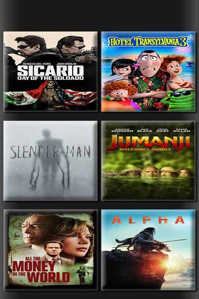 Sicario Day Of Soldado + Hotel Transylvania 3 + Slender Man + Jumanji Welcome To The Jungle + All The Money In The World + Alpha 6 Movie Bundle