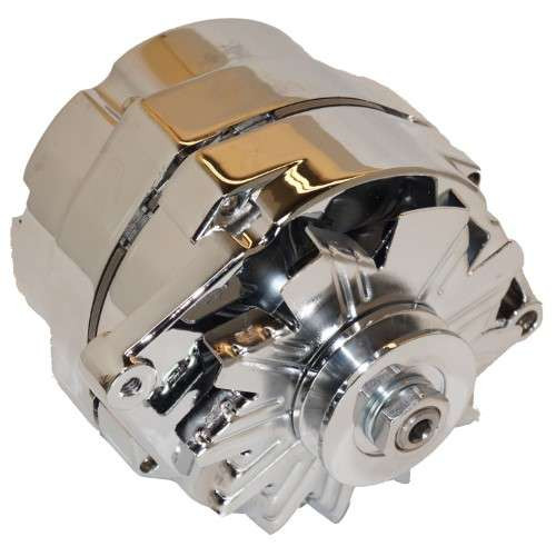 Chrome 105 AMP 1-Wire Alternator with Pulley - Used for converting 6 volt to 12 volt