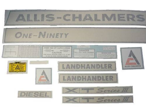 Allis Chalmers 190 One-Ninety XT Series III diesel (black on creme) VINYL CUT DECAL SET - DJS161