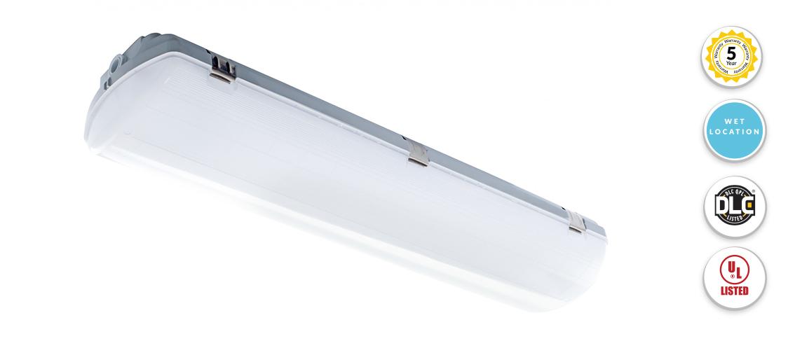 2 Foot Led Vapor Tight Weatherproof Light Fixture 25 Watt 3 125 Lumens 4 Foot 4000k Cool White