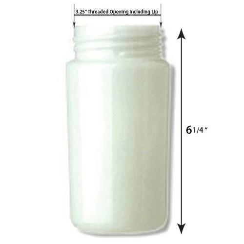 6 Inch Plastic Cylinder Threaded Lip Opening White Acrylic