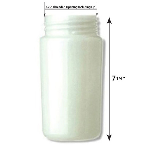 7 Inch Plastic Cylinder Threaded Lip Opening White Lexan