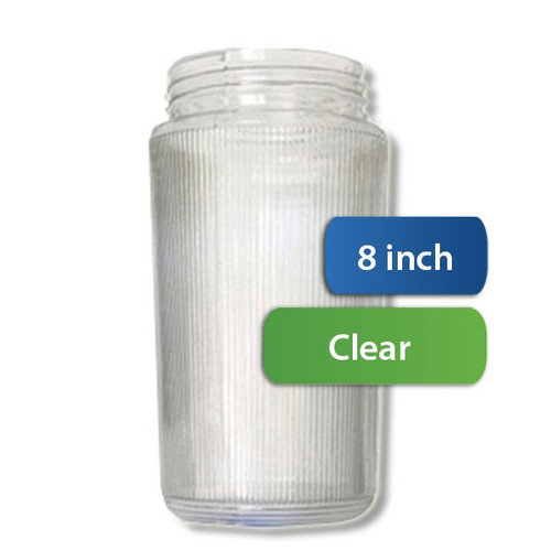 8 Inch Plastic Cylinder Threaded Lip Opening Clear Ribbed Acrylic
